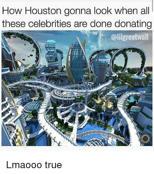 Memes, True, and Houston: How Houston gonna look when all  these celebrities are done donating  @lilgreatwall Lmaooo true