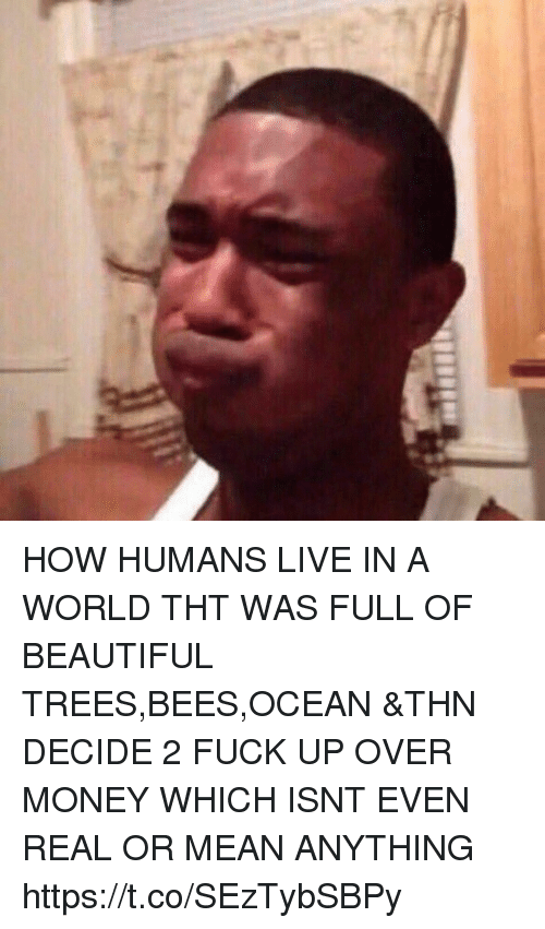 Beautiful, Money, and Fuck: HOW HUMANS LIVE IN A WORLD THT WAS FULL OF BEAUTIFUL TREES,BEES,OCEAN &THN DECIDE 2 FUCK UP OVER MONEY WHICH ISNT EVEN REAL OR MEAN ANYTHING https://t.co/SEzTybSBPy