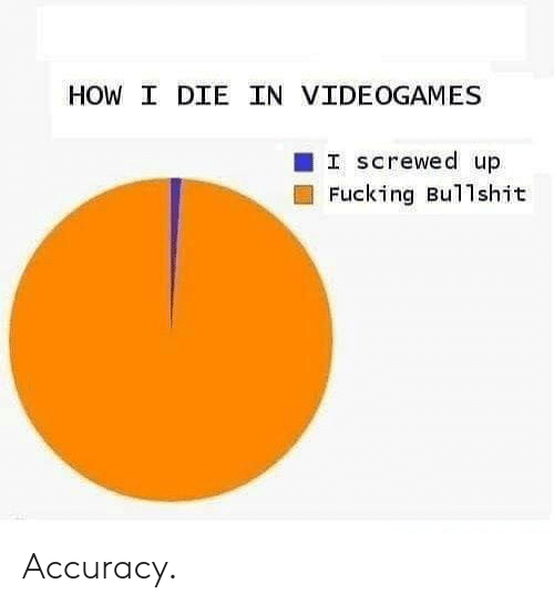 screwed up: HOW I DIE IN VIDEOGAMES  I screwed up  Fucking Bullshit Accuracy.