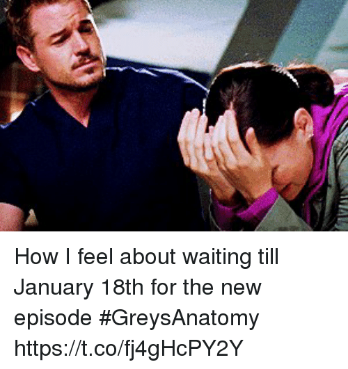 Memes, Waiting..., and 🤖: How I feel about waiting till January 18th for the new episode #GreysAnatomy  https://t.co/fj4gHcPY2Y