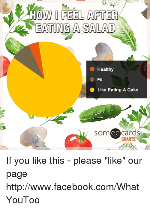 """Ee Cards: HOW I FEEL AFTER  EATING A SALAD  Healthy  Fit  Like Eating A Cake  som ee cards  CHARTS If you like this - please """"like"""" our page http://www.facebook.com/WhatYouToo"""