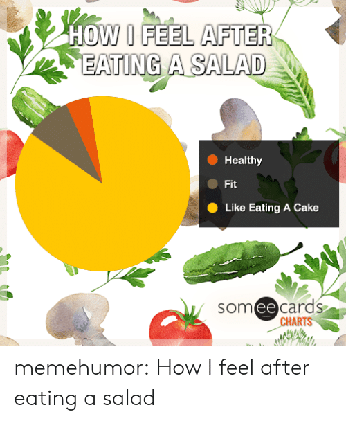 Ee Cards: HOW I FEEL AFTER  EATING A SALAD  Healthy  Fit  Like Eating A Cake  som ee cards  CHARTS memehumor:  How I feel after eating a salad