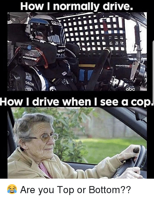Memes, Drive, and 🤖: How I normally drive.  SCH  How I drive when I see a cop. 😂 Are you Top or Bottom??