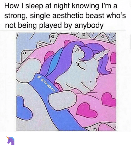 Memes, Aesthetic, and Strong: How I sleep at night knowing l'm a  strong, single aesthetic beast who's  not being played by anybody 🦄