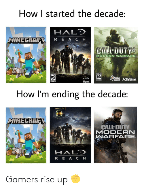 Infinity: How I started the decade:  HALD  MINECRAFT  REACH  CALL DUTY4  OF  MODERN WARFARE  UMES ADTES  RP  infinity  BUNGIE  war ACIIVISION  ESRB  Microsoft  gametudios  ESRB  How I'm ending the decade:  HALO  MINECRAFT  CALL DUTY  MODERN  WARFARE  HALD  REA CH Gamers rise up ✊