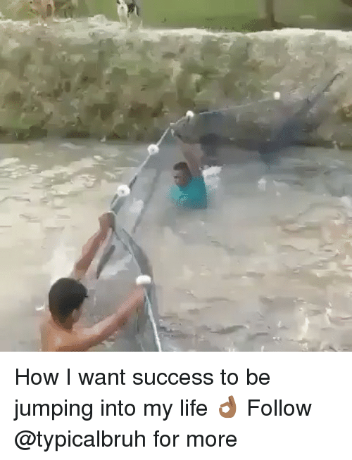 memes: How I want success to be jumping into my life 👌🏾 Follow @typicalbruh for more