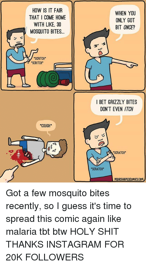 I Bet, Instagram, and Memes: HOW IS IT FAIR  THAT COME HOME  WITH LIKE, 30  MOSQUITO BITES...  ASCRITCH  SCRITCH*  *COUGH*  WHEN YOU  ONLY GOT  BIT ONCE?  I BET GRIZZLY BITES  DON'T EVEN ITCH  SCRATCH*  *SCRATCH*  PEARSHAPEDCOMICSCOM Got a few mosquito bites recently, so I guess it's time to spread this comic again like malaria tbt btw HOLY SHIT THANKS INSTAGRAM FOR 20K FOLLOWERS