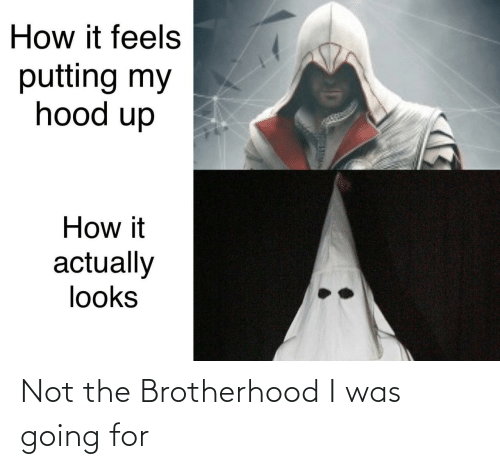 It Feels: How it feels  putting my  hood up  How it  actually  looks Not the Brotherhood I was going for