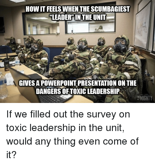 The Unit: HOW IT FEELS WHEN THE SCUMBAGIEST  LEADER'IN THE UNIT  GIVES A POWERPOINT PRESENTATION ON THE  DANGERS OF TOXIC LEADERSHIP  MIGHTY If we filled out the survey on toxic leadership in the unit, would any thing even come of it?