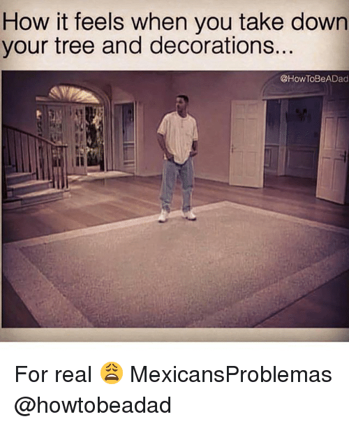 Memes, Tree, and 🤖: How it feels when you take down  your tree and decorations...  @How ToBeADad For real 😩 MexicansProblemas @howtobeadad
