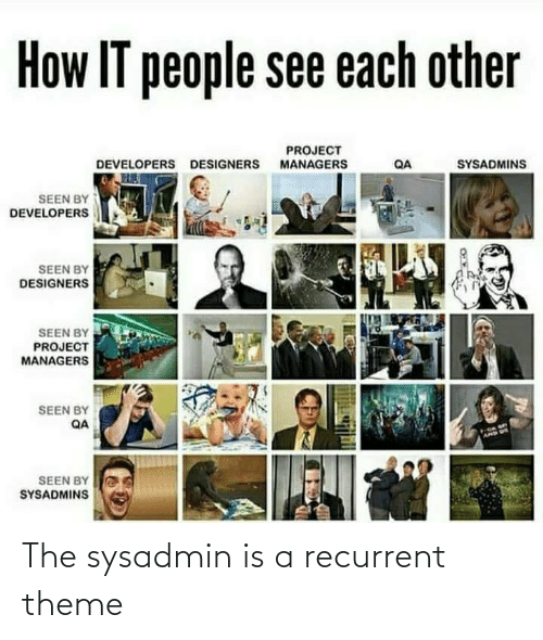 Developers: How IT people see each other  PROJECT  MANAGERS  SYSADMINS  DEVELOPERS DESIGNERS  QA  SEEN BY  DEVELOPERS  SEEN BY  DESIGNERS  SEEN BY  PROJECT  MANAGERS  SEEN BY  QA  AMD US  SEEN BY  SYSADMINS The sysadmin is a recurrent theme