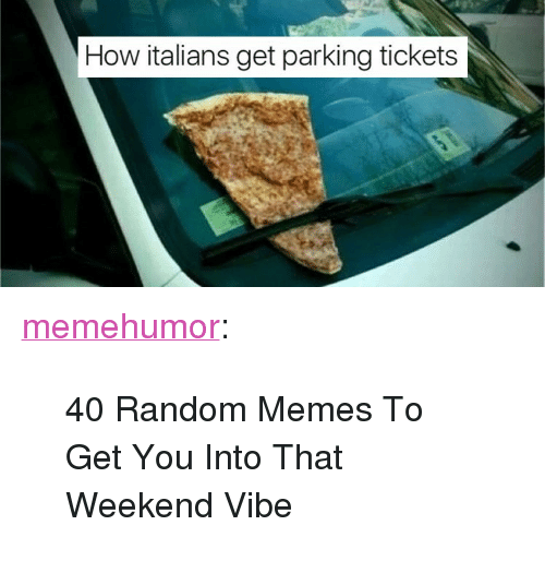 """How Italians: How italians get parking tickets <p><a href=""""http://memehumor.net/post/165924397814/40-random-memes-to-get-you-into-that-weekend-vibe"""" class=""""tumblr_blog"""">memehumor</a>:</p>  <blockquote><p>40 Random Memes To Get You Into That Weekend Vibe</p></blockquote>"""