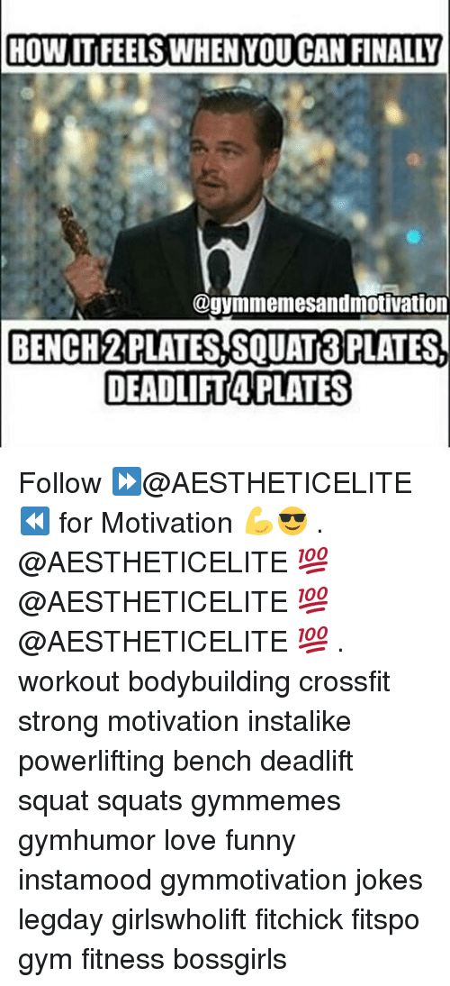 Funny, Gym, and Love: HOW ITIFEELS WHEN YOU CAN FINALLY  @gyinmemesandmotivation  BENCH? PLATES SQUAT3 PLATES.  DEADLIFT4 PLATES Follow ⏩@AESTHETICELITE ⏪ for Motivation 💪😎 . @AESTHETICELITE 💯 @AESTHETICELITE 💯 @AESTHETICELITE 💯 . workout bodybuilding crossfit strong motivation instalike powerlifting bench deadlift squat squats gymmemes gymhumor love funny instamood gymmotivation jokes legday girlswholift fitchick fitspo gym fitness bossgirls