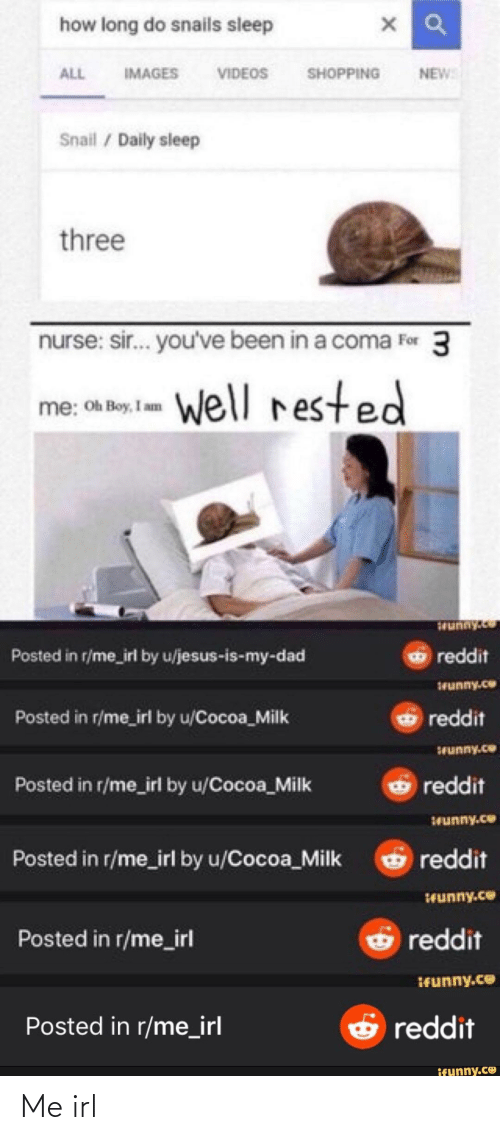 sir-youve-been-in-a-coma: how long do snails sleep  IMAGES  VIDEOS  SHOPPING  ALL  NEW  Snail / Daily sleep  three  nurse: sir... you've been in a coma For 3  Well rested  me: Oh Boy, I am  1unny.co  Posted in r/me_irl by u/jesus-is-my-dad  reddit  1Funny.co  Posted in r/me_irl by u/Cocoa_Milk  reddit  Srunny.ce  reddit  Posted in r/me_irl by u/Cocoa_Milk  Seunny.ce  reddit  Posted in r/me_irl by u/Cocoa_Milk  funny.ce  Posted in r/me_irl  reddit  IFunny.ce  E reddit  Posted in r/me_irl  ifunny.co Me irl