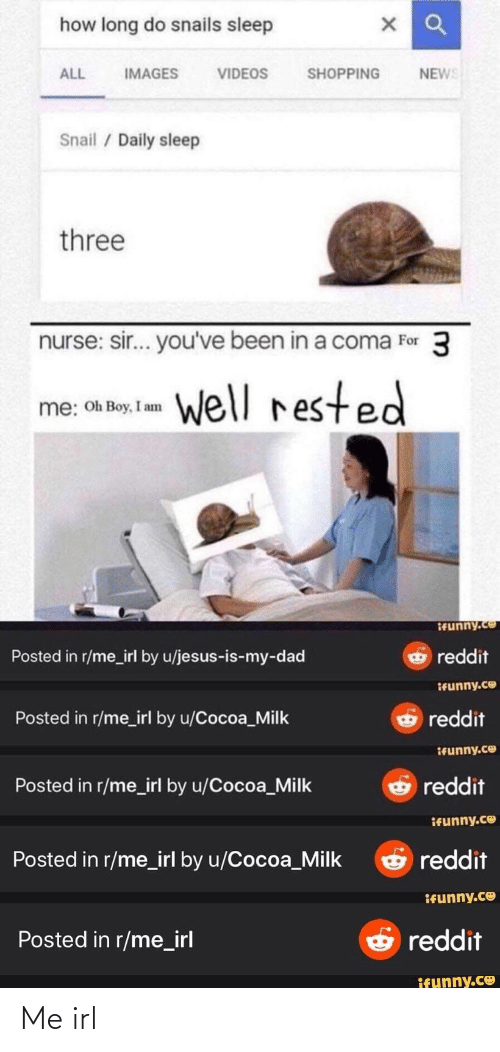 sir-youve-been-in-a-coma: how long do snails sleep  NEWS  ALL  VIDEOS  SHOPPING  IMAGES  Snail / Daily sleep  three  nurse: sir... you've been in a coma For 3  well rested  me: Oh Boy, I am  Ifunny.co  reddit  Posted in r/me_irl by u/jesus-is-my-dad  Ifunny.co  reddit  Posted in r/me_irl by u/Cocoa_Milk  IFunny.co  G reddit  Posted in r/me_irl by u/Cocoa_Milk  ifunny.co  O reddit  Posted in r/me_irl by u/Cocoa_Milk  ifunny.co  O reddit  Posted in r/me_irl  ifunny.co Me irl