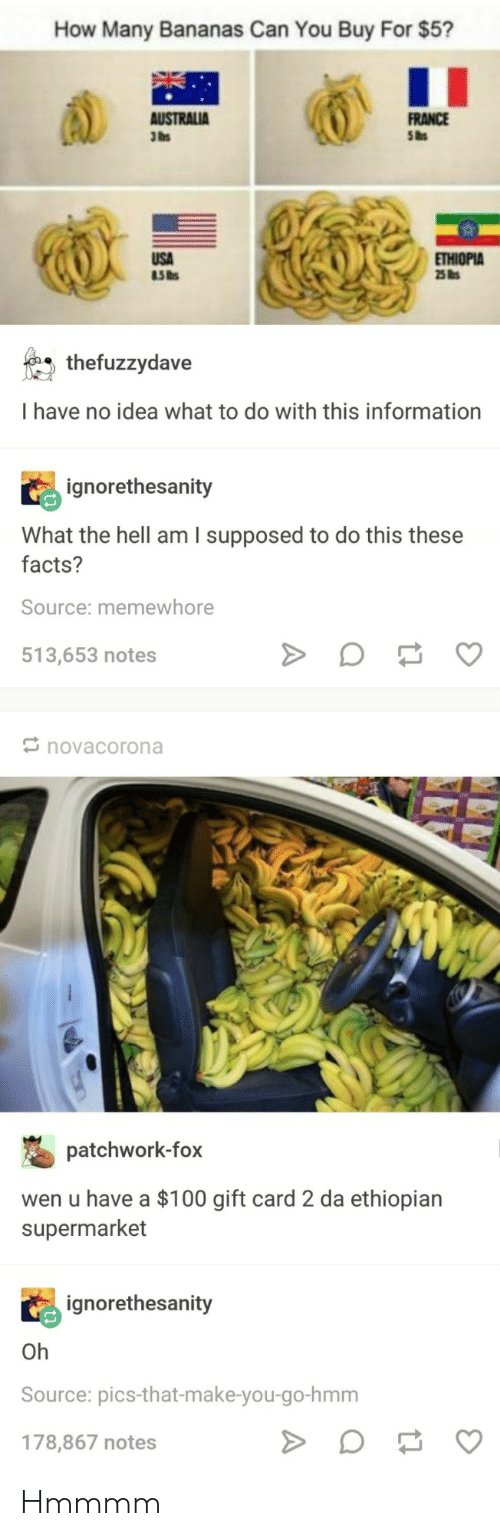 Ethiopian: How Many Bananas Can You Buy For $5?  FRANCE  Sas  3lbs  THIOPIA  thefuzzydave  I have no idea what to do with this information  ignorethesanity  What the hell am I supposed to do this these  facts?  Source: memewhore  513,653 notes  novacorona  patchwork-fox  wen u have a $100 gift card 2 da ethiopian  supermarket  ignorethesanity  Oh  Source: pics-that-make-you-go-hmm  178,867 notes Hmmmm