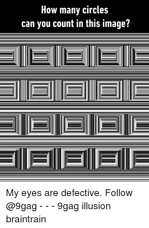 9gag, Memes, and Image: How many circles  can you count in this image? My eyes are defective. Follow @9gag - - - 9gag illusion braintrain