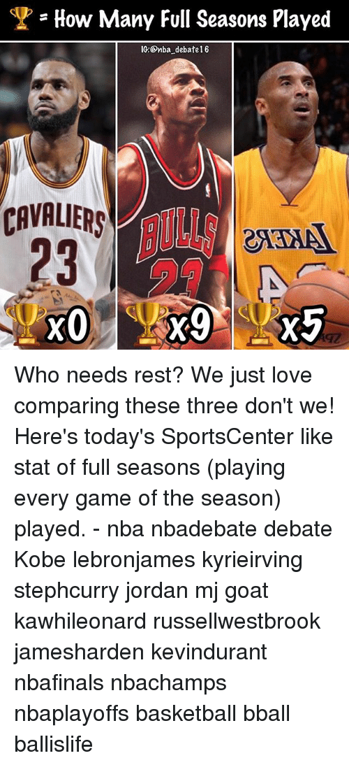 Basketball, Love, and Memes: = How Many Full Seasons Played  IC:Onba debate1 6  CAVALIERS IORng  23 Who needs rest? We just love comparing these three don't we! Here's today's SportsCenter like stat of full seasons (playing every game of the season) played. - nba nbadebate debate Kobe lebronjames kyrieirving stephcurry jordan mj goat kawhileonard russellwestbrook jamesharden kevindurant nbafinals nbachamps nbaplayoffs basketball bball ballislife