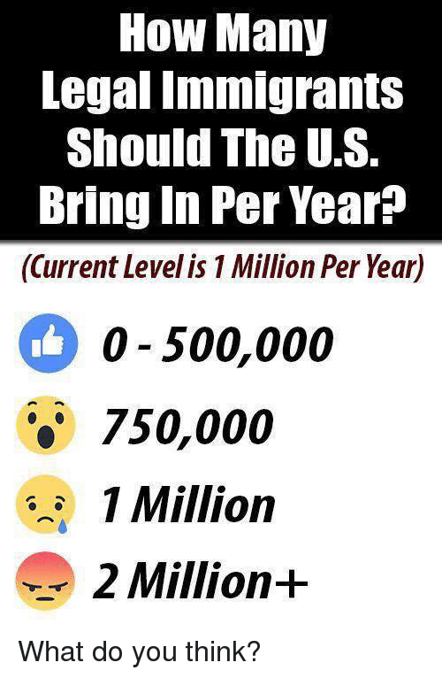Memes, 🤖, and How: How Many  Legal Tmmigrants  Should The U.S.  Bring In Per Year?  (Current Level is 1 Million Per Year)  o-500,000  750,000  1 Million  2 Million+ What do you think?