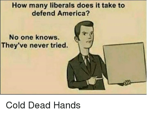 cold-dead-hands: How many liberals does it take to  defend America?  No one knows.  They've never tried. Cold Dead Hands