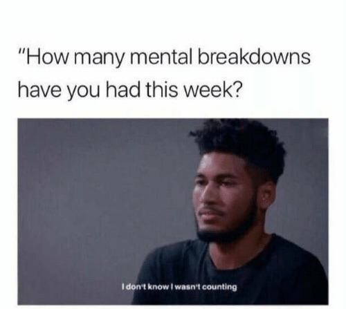 "I Dont Know I Wasnt Counting: ""How many mental breakdowns  have you had this week?  I don't know I wasn't counting"
