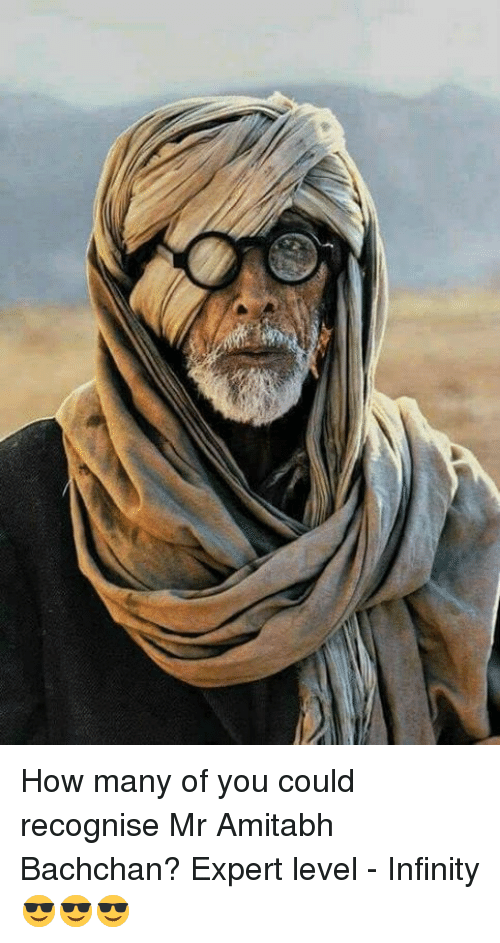 Amitabh Bachchan: How many of you could recognise Mr Amitabh Bachchan? Expert level - Infinity 😎😎😎