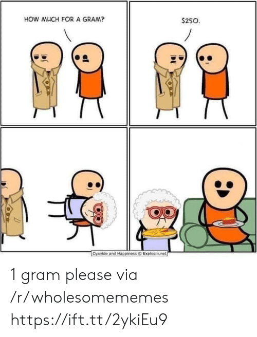 Cyanide and Happiness, Happiness, and How: HOW MUCH FORA GRAM?  $250  Cyanide and Happiness@ Explosm.net 1 gram please via /r/wholesomememes https://ift.tt/2ykiEu9