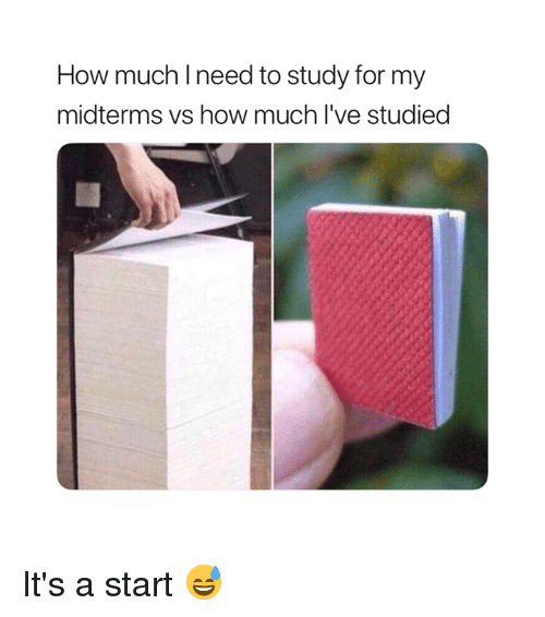 Midterms: How much Ineed to study for my  midterms vs how much l've studied It's a start 😅