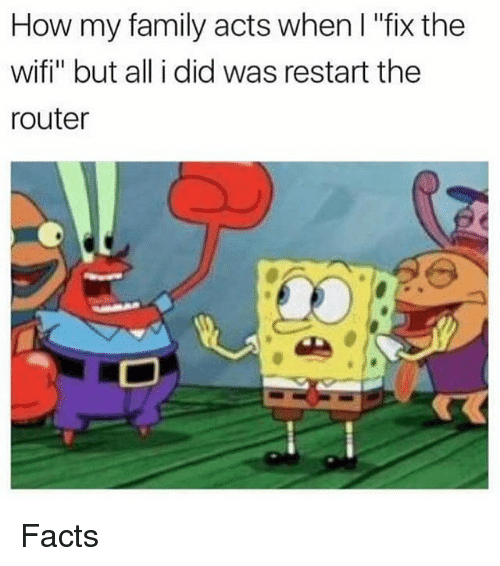 "Wify: How my family acts when l ""fix the  wifi"" but all i did was restart the  router Facts"