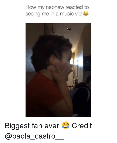 castro: How my nephew reacted to  seeing me in a music vid Biggest fan ever 😂 Credit: @paola_castro__