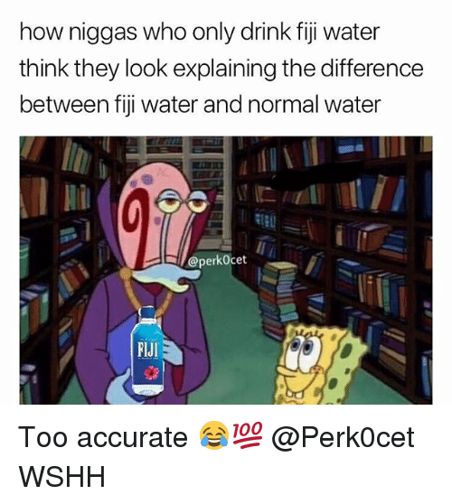 Memes, Wshh, and Fiji: how niggas who only drink fiji water  think they look explaining the difference  between fiji water and normal water  @perkOcet  FlJI Too accurate 😂💯 @Perk0cet WSHH