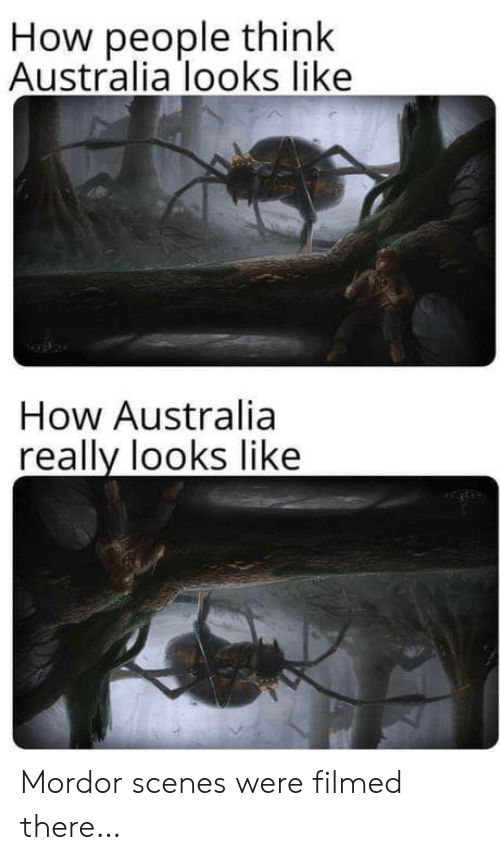 scenes: How people think  Australia looks like  How Australia  really looks like Mordor scenes were filmed there…