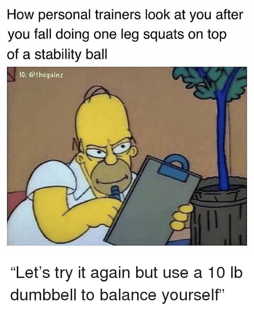 "Fall, Memes, and Squats: How personal trainers look at you after  you fall doing one leg squats on top  of a stability ball  1G: @thegainz ""Let's try it again but use a 10 lb dumbbell to balance yourself"""