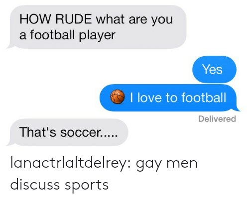 Football Player: HOW RUDE what are you  a football player  Yes  I love to footbal  Delivered lanactrlaltdelrey:  gay men discuss sports