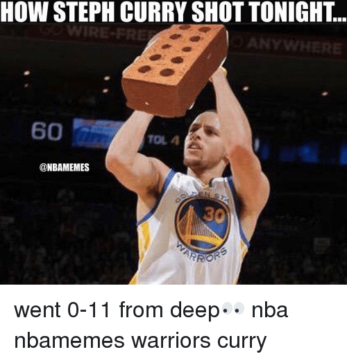 Basketball, Nba, and Sports: HOW STEPH CURRY SHOT TONIGHT  @NBAMEMES  ARROR went 0-11 from deep👀 nba nbamemes warriors curry