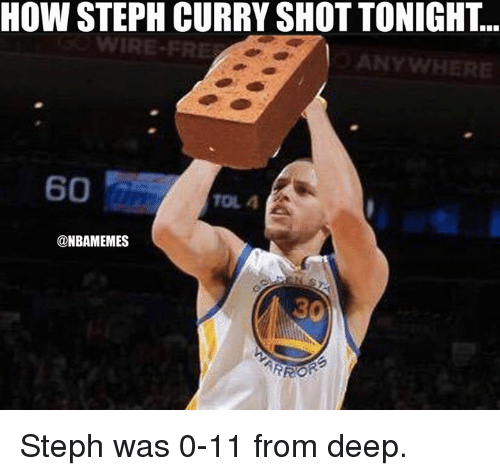 Nba, Wired, and How: HOW STEPH CURRY SHOT TONIGHT.  WIRE-FRE  ANYWHERE  60  TOLA  @NBAMEMES Steph was 0-11 from deep.