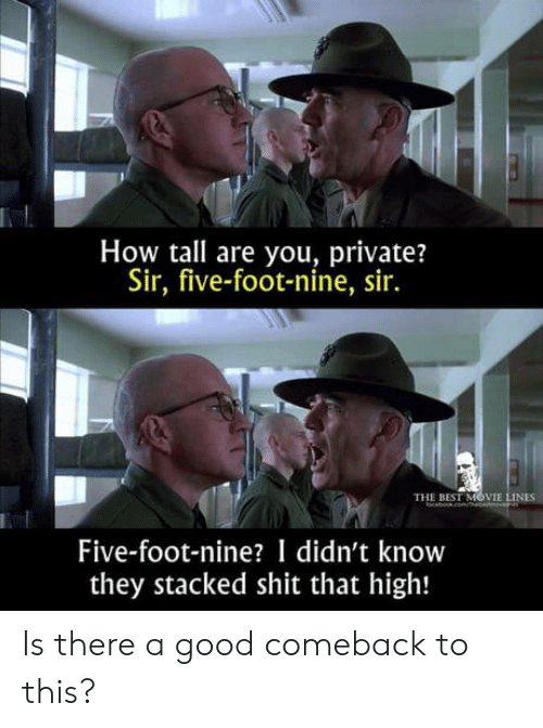 movie lines: How tall are you, private?  Sir, five-foot-nine, sir.  THE BEST MOVIE LINES  beomce  Five-foot-nine? I didn't know  they stacked shit that high! Is there a good comeback to this?