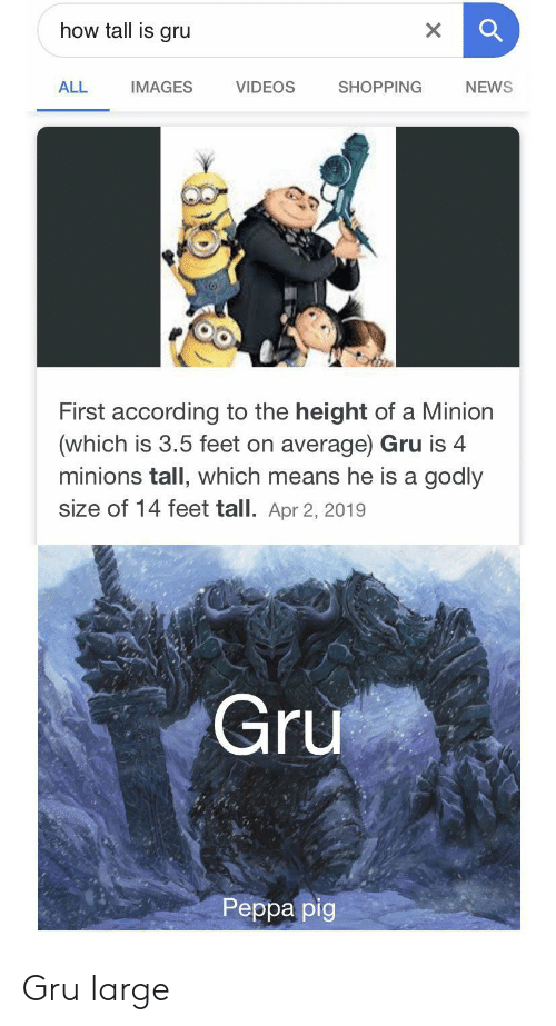 Gru: how tall is gru  X  VIDEOS  ALL  SHOPPING  NEWS  IMAGES  First according to the height of a Minion  (which is 3.5 feet on average) Gru is 4  minions tall, which means he is a godly  size of 14 feet tall. Apr 2, 2019  Gru  Реpра pig Gru large