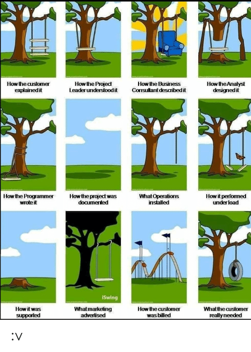 Consultant: How the Analyst  designedit  How the Project  Leaderunderstoodit  How the Business  Consultant desaribedit  How the customer  explainedit  Howit performed  underload  Howthe project was  documented  How the Programmer  wrote it  What Operations  installed  iSwing  Whatmarketing  advertised  How the customer  How it was  Whatthe customer  was billed  supported  really needed :v