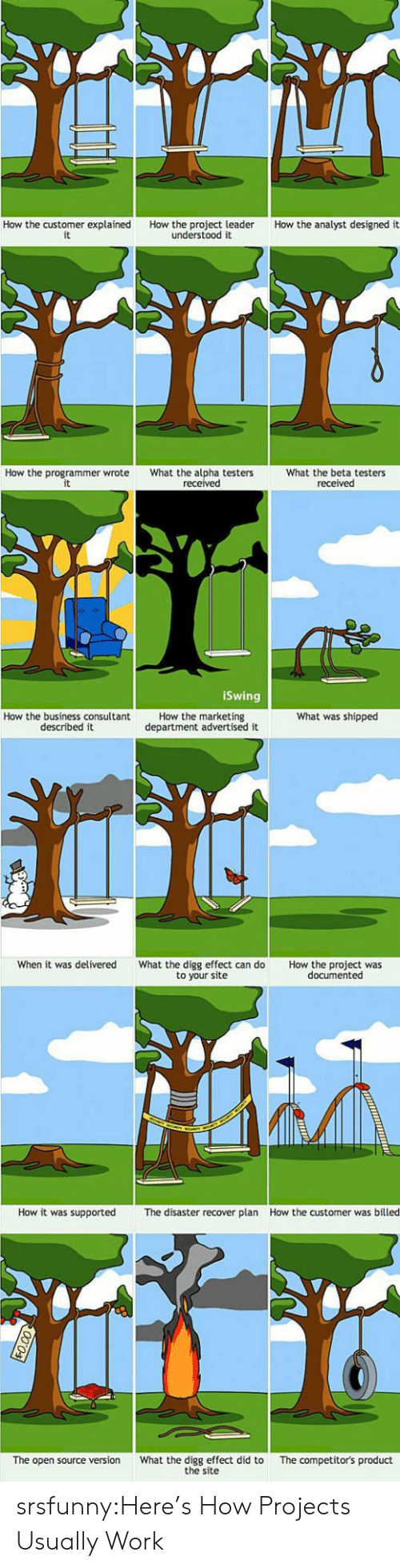 marketing: How the customer explained  it  How the analyst designed it  How the project leader  understood it  How the programmer wrote  What the alpha testers  received  What the beta testers  received  iSwing  How the marketing  department advertised it  What was shipped  How the business consultant  described it  When it was delivered  What the digg effect can do  to your site  How the project was  documented  How it was supported  How the customer was billed  The disaster recover plan  What the digg effect did to  the site  The competitor's product  The open source version srsfunny:Here's How Projects Usually Work