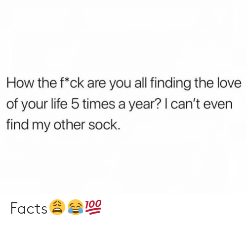 Facts, Life, and Love: How the f*ck are you all finding the love  of your life 5 times a year? I can't even  find my other sock Facts😩😂💯