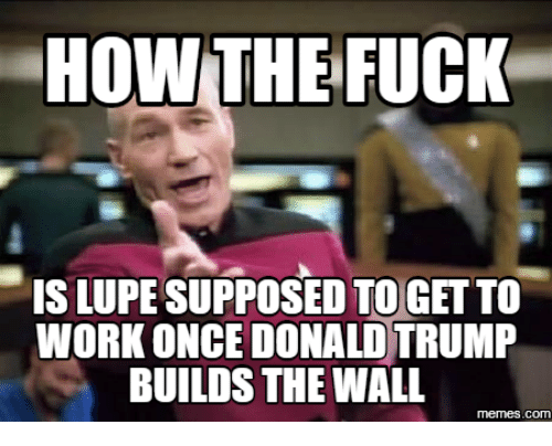 Donald Trump And The Wall: HOW THE FUCK  ISLUPESUPPOSED TO GETTO  WORK ONCE DONALD TRUMP  BUILDS THE WALL  COM