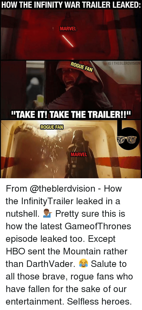Hbo, Memes, and Brave: HOW THE INFINITY WAR TRAILER LEAKED:  MARVEL  G I THEBLERDVISION  ROGUE FAN  ITAKE IT! TAKE THE TRAILER!!!  ROGUE FAN  MARVEL From @theblerdvision - How the InfinityTrailer leaked in a nutshell. 💁🏾♂️ Pretty sure this is how the latest GameofThrones episode leaked too. Except HBO sent the Mountain rather than DarthVader. 😂 Salute to all those brave, rogue fans who have fallen for the sake of our entertainment. Selfless heroes.