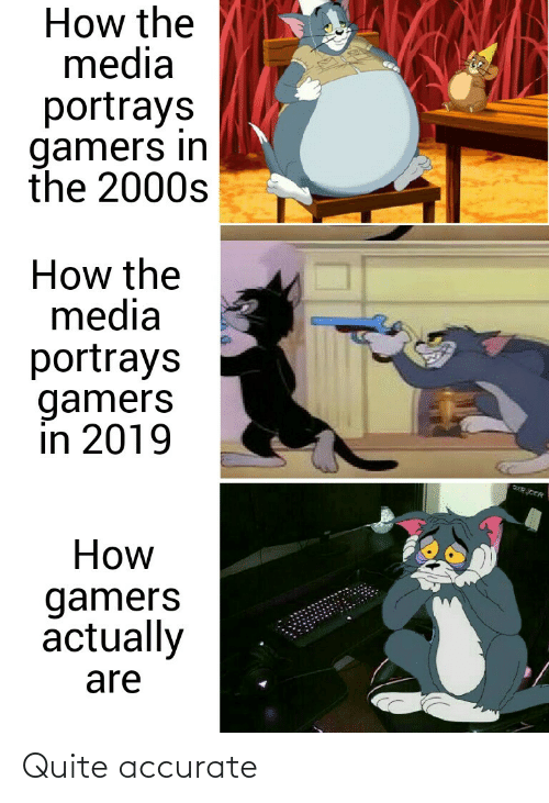 gamers: How the  media  portrays  gamers in  the 2000s  How the  media  portrays  gamers  in 2019  How  gamers  actually  are Quite accurate