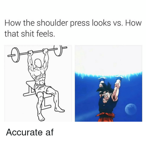 Af, Gym, and Shit: How the shoulder press looks vs. How  that shit feels. Accurate af