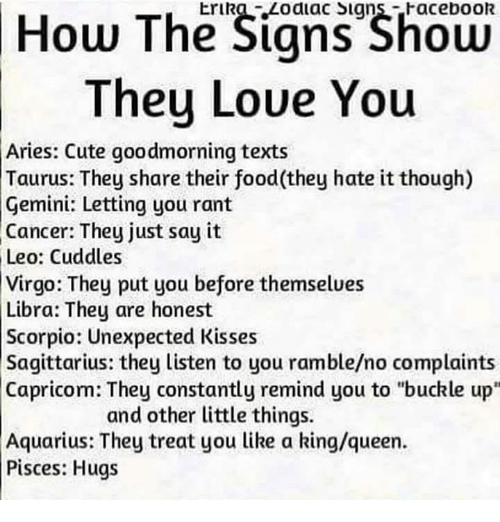 "Cute, Facebook, and Food: How The Signs Shoen  They Loue You  Erika Zodiac Signs-Facebook  Aries: Cute goodmorning texts  Taurus: They share their food(they hate it though)  Gemini: Letting you rant  Cancer: They just say it  Leo: Cuddles  Virgo: They put you before themselues  Libra: They are honest  Scorpio: Unexpected Kisses  Sagittarius: they listen to you ramble/no complaints  Capricom: They constantly remind you to ""buckle up""  and other little things.  Aquarius: They treat you like a king/queen.  Pisces: Hugs"