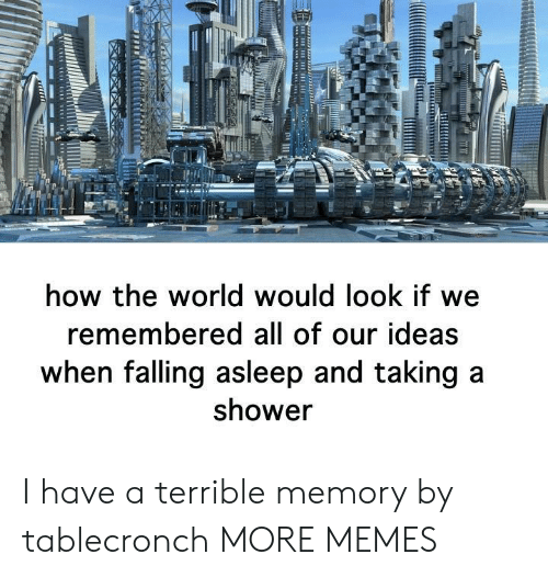 falling asleep: how the world would look if we  remembered all of our ideas  when falling asleep and taking a  shower I have a terrible memory by tablecronch MORE MEMES