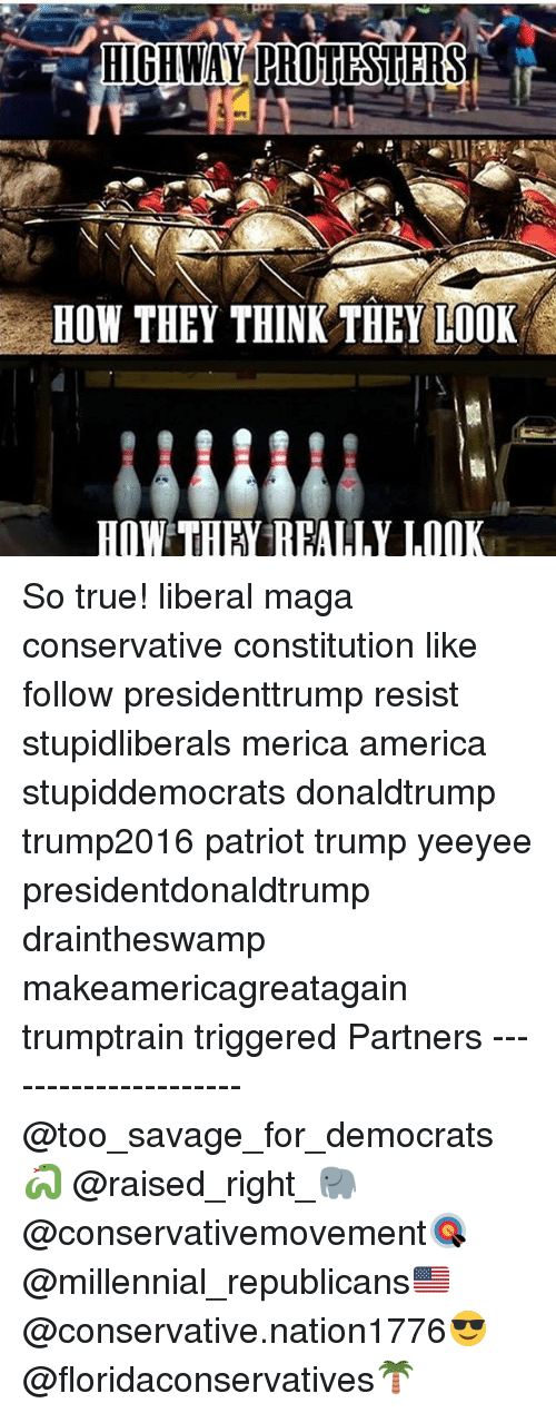 America, Memes, and Savage: HOW THEY THINK THEY LOOK  HOW TH REALLY LOOK So true! liberal maga conservative constitution like follow presidenttrump resist stupidliberals merica america stupiddemocrats donaldtrump trump2016 patriot trump yeeyee presidentdonaldtrump draintheswamp makeamericagreatagain trumptrain triggered Partners --------------------- @too_savage_for_democrats🐍 @raised_right_🐘 @conservativemovement🎯 @millennial_republicans🇺🇸 @conservative.nation1776😎 @floridaconservatives🌴