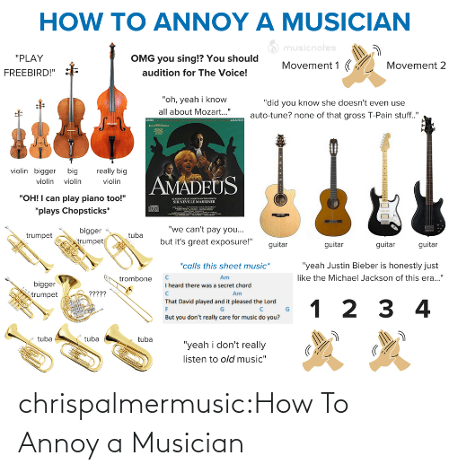 "Justin Bieber: HOW TO ANNOY A MUSICIAN  O musicnotes  ""PLAY  OMG you sing!? You should  Movement 1 (  Movement 2  audition for The Voice!  FREEBIRD!""  ""oh, yeah i know  ""did you know she doesn't even use  all about Mozart..""  auto-tune? none of that gross T-Pain stuff.""  AMADEUS  MORE  violin bigger big  really big  AMADEUS  violin violin  violin  ""OH! I can play piano too!""  ACADO O SE MARTINNTHELOS  SIR NEVILLE MARRINER  *plays Chopsticks*  ""we can't pay you...  bigger  egn  but it's great exposure!""  trumpet  trumpet  guitar  guitar  guitar  guitar  *calls this sheet music*  ""yeah Justin Bieber is honestly just  like the Michael Jackson of this era...""  Am  trombone  bigger  I heard there was a secret chord  ?????  Am  trumpet  That David played and it pleased the Lord  1 2 3 4  But you don't really care for music do you?  tuba  tuba  tuba  ""yeah i don't really  listen to old music"" chrispalmermusic:How To Annoy a Musician"
