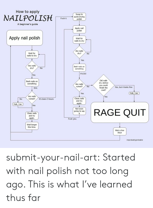 Rage quit: How to apply  Swap to  quick drying  polish  Fuck it  A beginner's guide  Apply nail  polish  Apply nail polish  Wait for  nails to dry  Are nails  dry?  Wait for  nails to dry  No  Yes  Are nails  dry?  Bash nails on  something  No  FUCK!  Yes  Did nails  dry before  you could  finish the  coat?  Bash nails on  something  Are nails  ruined?No  Yes, but it looks fine  Shit.  Yes  Hah, Liar  Are nails  ruined?  Yes  Clean nails  and try  again  0  It's been 3 hours  Hah, Liar.  Yes  Clean nails  and try  again  Not even  going to say  it  RAGE QUIT  Fuck you  Wait longer  this time  Wait a few  days  improbablyprobable submit-your-nail-art:  Started with nail polish not too long ago. This is what I've learned thus far